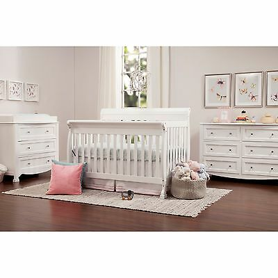 Baby Crib 4 in 1 Convertible Infant Toddler Rail Bed Daybed Full Size White NEW