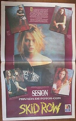 Skid Row Musicians Celebrity Poster 1991 From A Magazine In Spanish