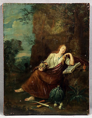 Early 19th Century Religious Oil Painting on Panel Madonna with Skull and Book