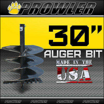 """30"""" Auger Bit w/ Round Collar For Skid Steer Loaders 4' Length  - 30 Inch"""