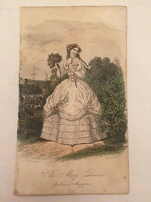 Vintage Paper Ephemera The May Queen Graham's Magazine 1851 Women's Fashion Old