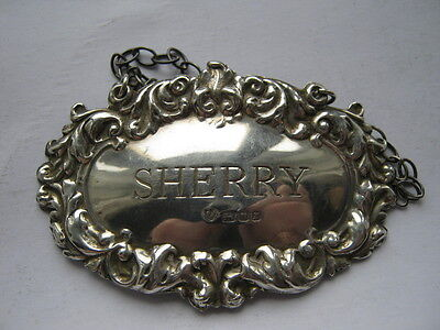 Solid silver SHERRY decanter label London 1972