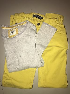 Mini Boden Girls Size 11 12 Outfit Chartreuse Pants /Jeans, Grey Pointelle Shirt