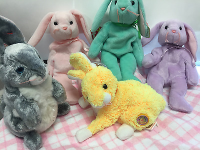 Easter Collection of beanie babies Rabbits plush toys