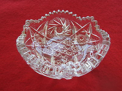 Antique  US Glass Co.1920's  Artcut Mark Diamond Whirl Crystal Round Bowl