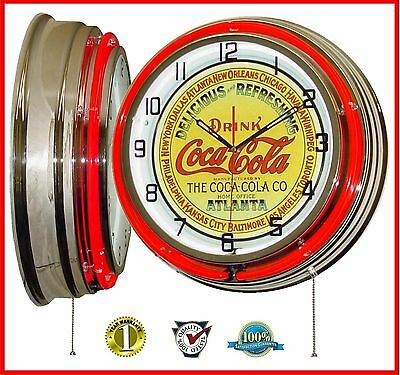 "19"" The Coca-Cola Company Logo Sign Red Double Neon Lighted Wall Clock Chrome"