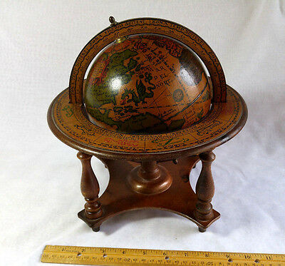 "Vintage Wooden Spinning 11"" Desk Globe & Stand - Zodiac  Latin - Made in Italy"