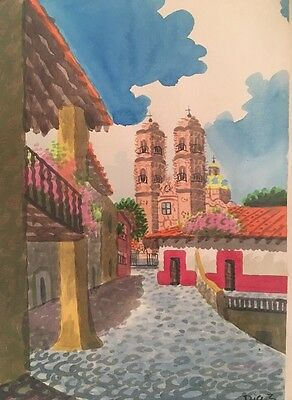 Vintage Signed DIAZ Watercolor Taxco, Mexico Street Scene Impressionist Painting
