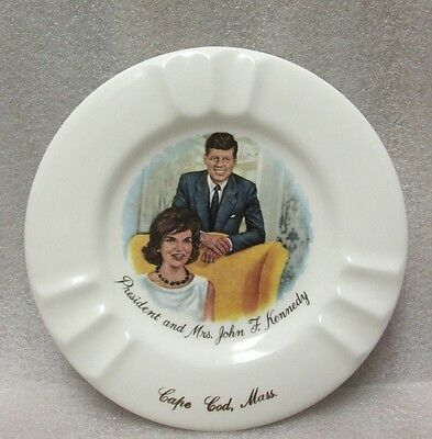AS IS VINTAGE JOHN F. KENNEDY & JACKIE O CAPE COD MASS. ASHTRAY AS IS 1960's!