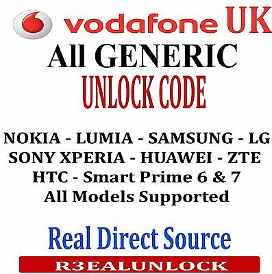 Unlock Vodafone Uk (Nokia - Lumia - Samsung - Sony -  Huawei - Htc - Blackberry)