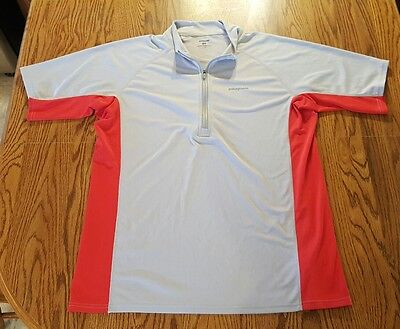 Mens PATAGONIA Athletic TOP Shirt gray red short sleeve 1/4 zip Size Large. EUC