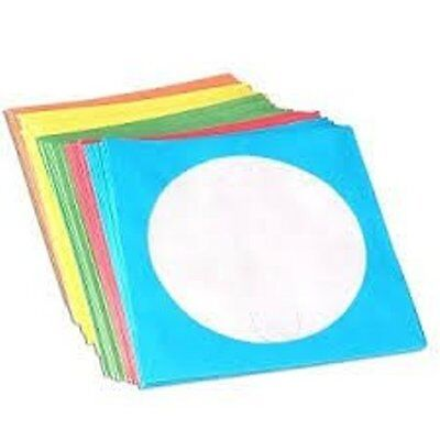 100 x Coloured Paper CD Sleeves With Window