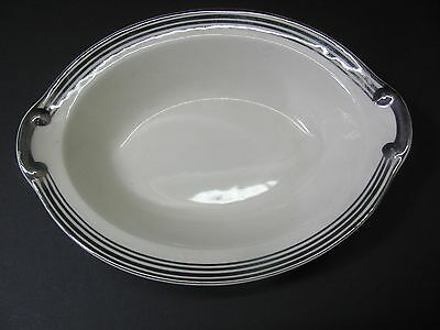 Oval Serving Bowl Of Taylor Smith & Taylor China Trimmed in Silver # 1872