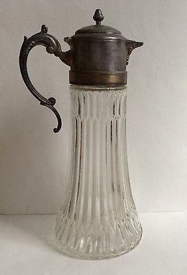 Vintage Ornate Italian Silverplate and Clear Heavy Glass Pitcher Decanter 14""