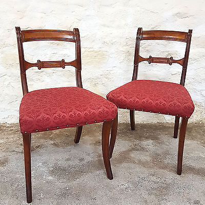 Regency Pair of Mahogany Saber Leg Dining Chairs - C1820 (Georgian Antique)