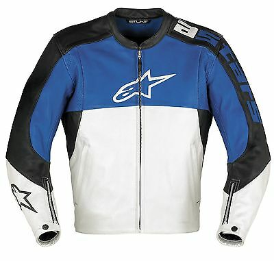 Alpinestars Stunt 2 Leather Motorcycle Jacket Blue Silver Black Men's 60