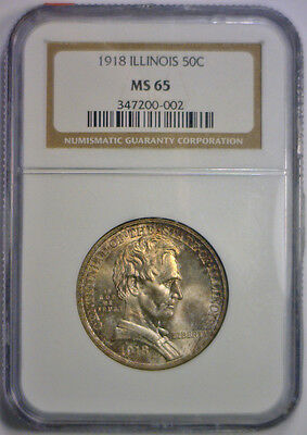 1918 Lincoln Silver Commemorative Half Lustrous Toned NGC MS65 MS 65