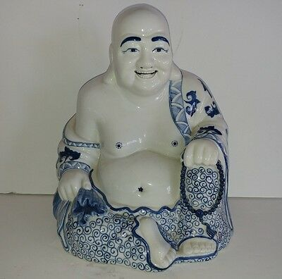 Antique Chinese Porcelain Laughing Buddha, blue/white With his sack