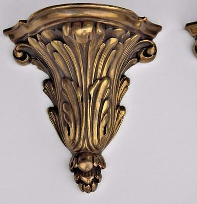 Pair: High Quality Antique/Vintage Gilt Plaster Sconce Shelf Copper Skinned