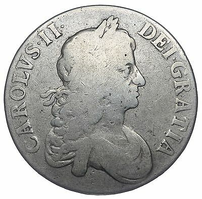 1664 Crown - Charles Ii British Silver Coin - Nice