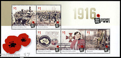 2016 Centenary of WWI - 1916 - Minisheet of 5 Stamps - MUH