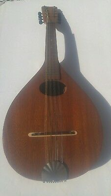 Early 1900's Mahogany 8 string Lute Madolin by Victoria B&J New York