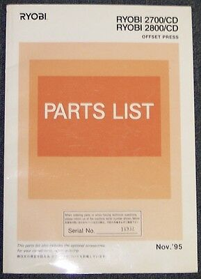 Parts List Manual For Ryobi 2700-Cd / 2800-Cd , Nov '95 Edition.