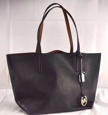 Women's Michael Kors Izzy Large Reversible Leather Tote Black Brown