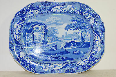 Spode blue-white platter, Italian pattern, impressed mark ,before 1816