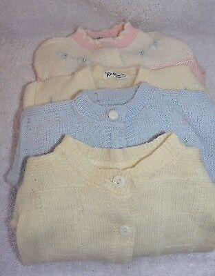 "4 Vintage Infant Baby Sweaters ~ Button Fronts, Long Sleeves ~ 9"" X 10"""
