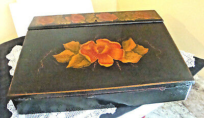 Antique Writing Lap Travel Desk Letter Box Hand Painted with Compartments