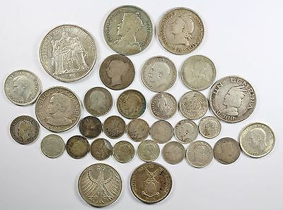 Vintage Silver World Coin Lot of (31) Mixed Silver Foreign Coins 158 grams