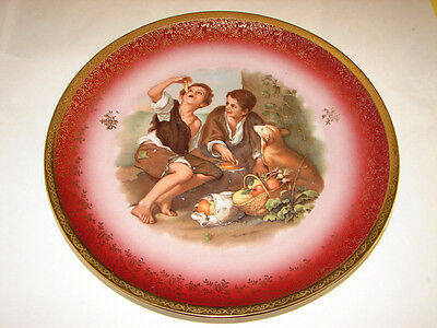 """Porcelain CHARGER Cabinet PLATE by HUTSCHENREUTHER CHINA GERMANY 10.5"""" ca.1940s"""