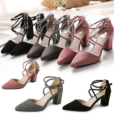 New Women's Block Kitten High Heels Suede Leather Shoes Pumps Pointed sandals AU