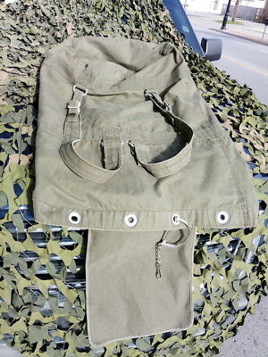 Genuine German Army Top Load OD CANVAS Large Duffel Bag with Straps and Lock