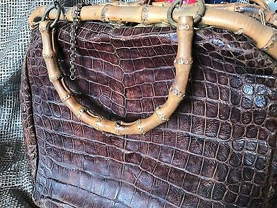 Old Leather & Bamboo Crocodile Style Hand Bag …beautiful collection piece