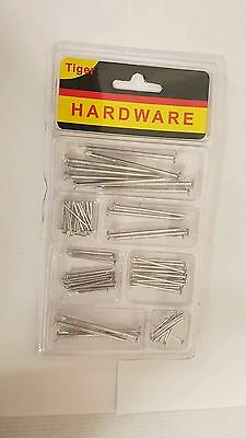 Approx 70pc ASSORTED SIZE ZINC PLATED STEEL FLAT HEADED BUILDING HOME WORK NAILS