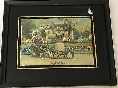 Antique Vintage Hand Embroidered Longfellow Home Picture Linen Reverse Paint