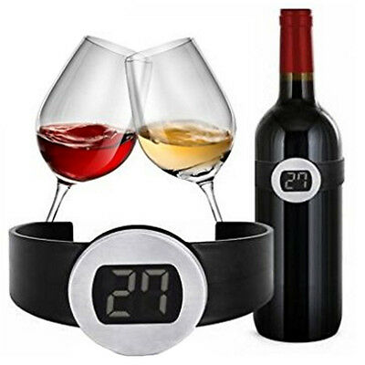 Wine Bottle Thermometer Temperature Fahrenheit Winery Cellar Digital LCD Band