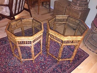 Vtg Nesting Side Tables Chinese Chippendale Chinoiserie Brighton Bamboo Rattan