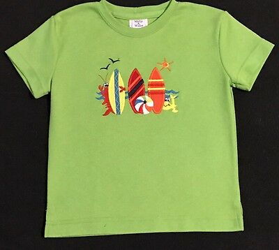 Wally & Willie Boys Size 4T Green Shirt With Embroidered Surfboards