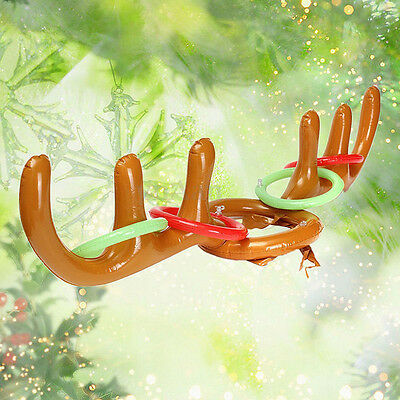 Inflatable Reindeer Antler Hat Ring Toss Toys Christmas Holiday Party Game Toy