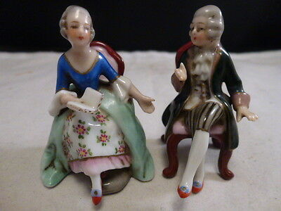 ANTIQUE GERMAN HOCHST PAIR OF Couple in CHAIRS  FIGURINES    miniatures  2.5""