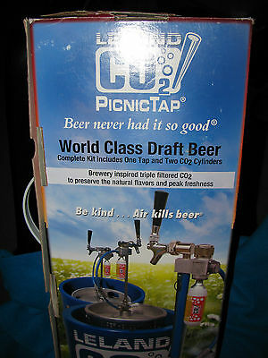 Leland Co2 Picnic Beer Tap Pump W/2 Cylinders Sankey New Keg Tailgate Party Box