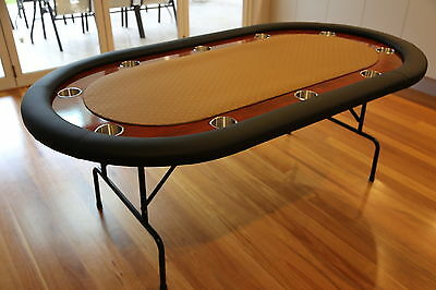 "The Ivey 82"" Professional 10 Seater Gold Suited Speed Cloth Poker Table Premium"