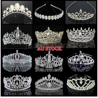New Princess Crystal Prom Hair Tiara Stunning Wedding Bridal Crown Veil Headband