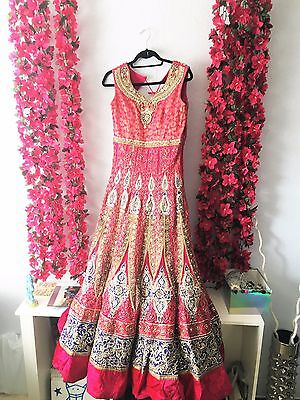 Elegant hot pink indo-western gown