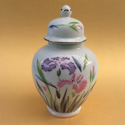 GINGER JAR KUTANI PORCELAIN JAPAN Small White With Enameled Iris Flowers Lidded
