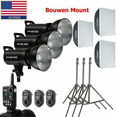 US 1200w 3x Godox 400w SK400 Photography Studio Strobe Flash Light Softbox Kit
