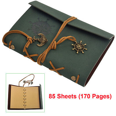 Retro Classic Vintage Leather Bound Blank Pages Journal Diary Notebook Green